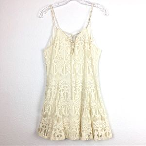 Flying Tomato Spaghetti Strap Lace Mini Sun Dress.